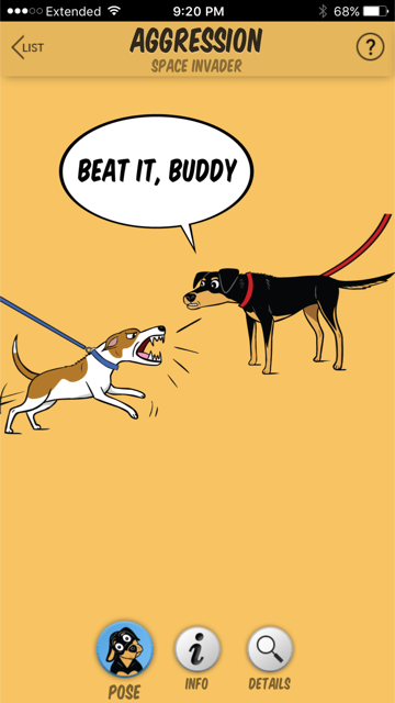 An aggressive dog may just have their hackles up at the shoulders and a little way down the back. (Image from Dog Decoder smartphone app/illustration by Lili Chin)